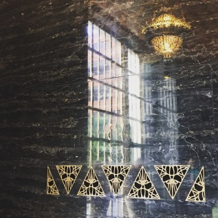Black marble in the art deco lobby San Francisco Yelp headquarters