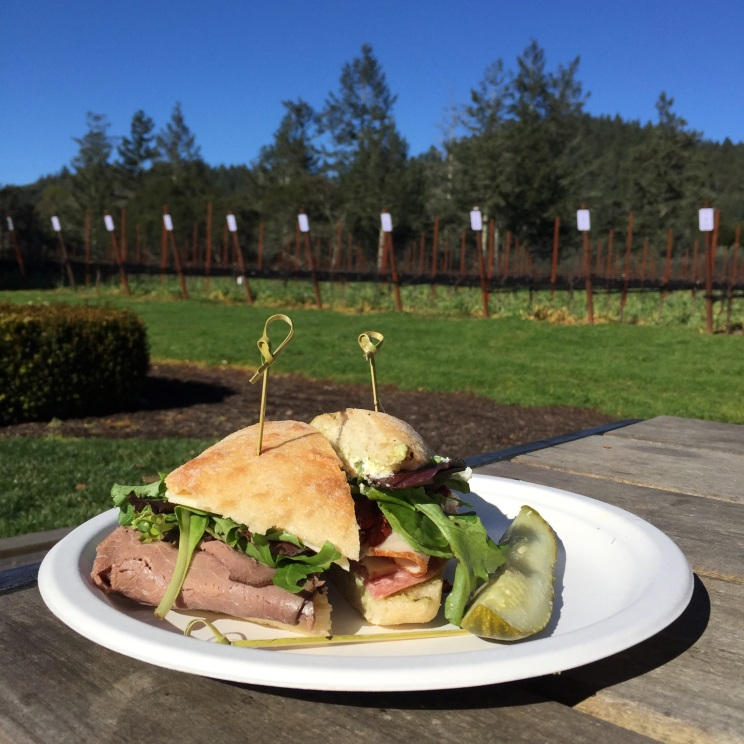 Ledson Winery Sonoma, eating outside in January