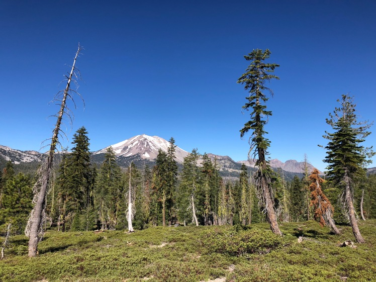 Lassen Peak at Lassen Volcanic National Park on the Cluster Lakes Loop Trail